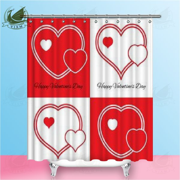 Vixm Happy Valentine's Day Romantic 3D Love Symbol Shower Curtains Red Flamingo Waterproof Polyester Fabric Curtains For Home Decor