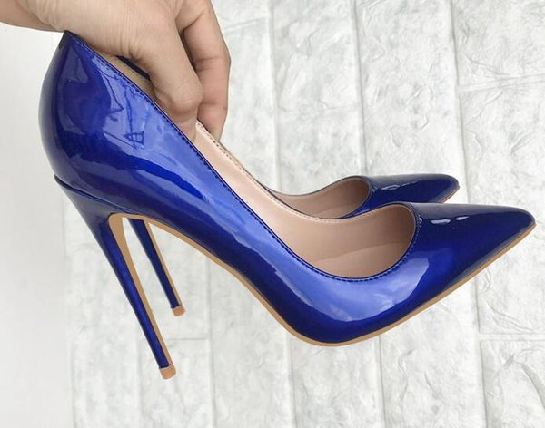 fashion woman women lady 2018 new Blue patent leather with Wedding heels Stiletto High Heels shoes pumps boots sandals