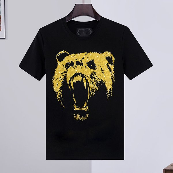 top popular 100% Cotton tiger T Shirts Men Summer Basic Solid crystal Skull T-shirt Casual Punk High Quality letter tops Tee clothing short sleeve M-3XL 2020