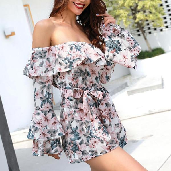 Women Sexy Off Shoulder Flower Print Jumpsuit Long Ruffle Sleeve Romper Waist Belt Summer Playsuit JS25