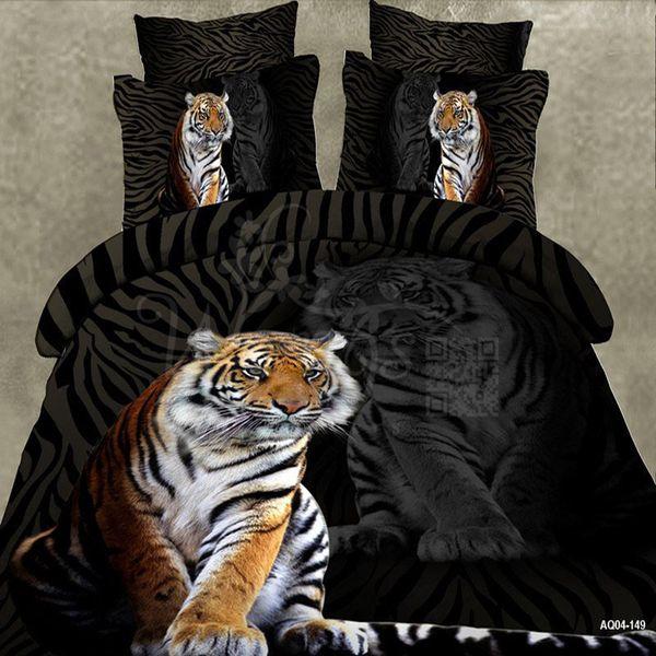 Literie de marque Literie 3D Cartoon Sets Tiger animaux Housse de couette Linge de lit Noir Linge de lit Double Queen King Size 3 / 4PCS