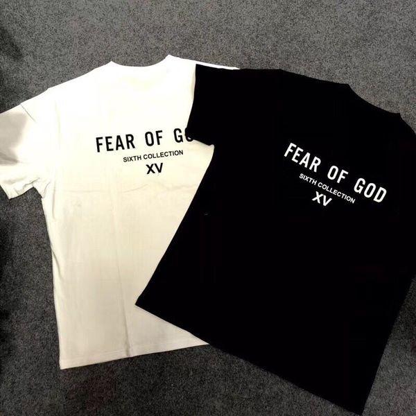 2019 été nouveaux hommes femmes peur de dieu sixième collection XV imprimé t-shirt de mode t-shirts à manches courtes t-shirts hiphop brouillard 6ème t-shirts tee