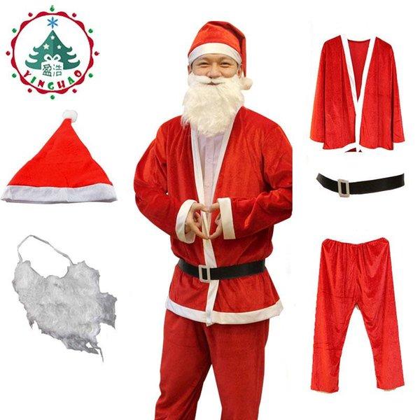 Weihnachtsmütze Weihnachtsmann Kostüm Cosplay Weihnachtsmann Kleidung Kostüm In Weihnachtsmann 5 teile / satz Kostüm Anzug Für Erwachsene