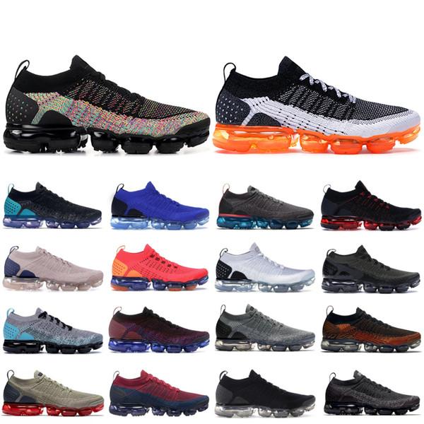 Nike Vapormax Flyknite Noir Multi Couleur Knit 2.0 Chaussures De Course 2019 Safari Pure Platinum Hommes Femmes respirant Baskets 1.0 Triple Noir Hommes Designer Chaussures