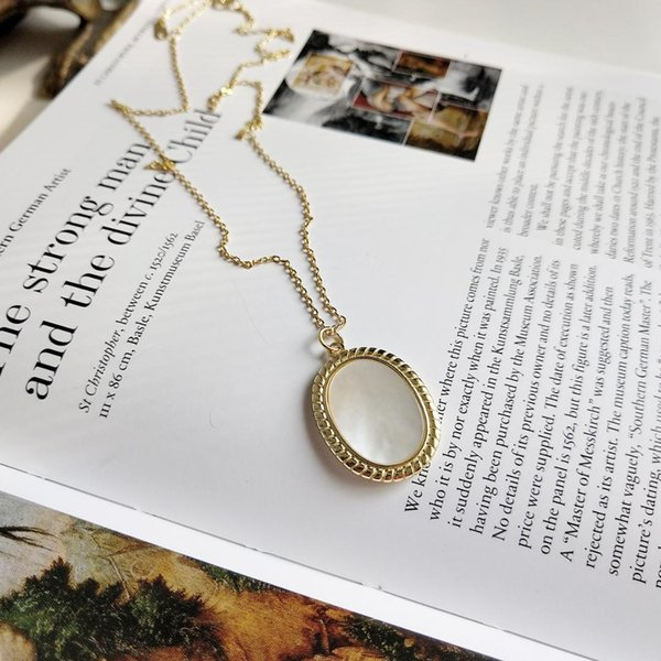 collier en argent sterling collier en coquille ovale collier court déclaration de la chaîne