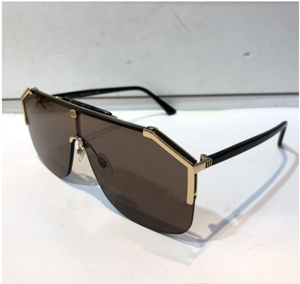 Lunettes de soleil de luxe 0291 pour les femmes Lunettes de soleil à la mode Enveloppe de lunettes de soleil Demi Cadre Revêtement Miroir Lentille Fibre de Carbone Style