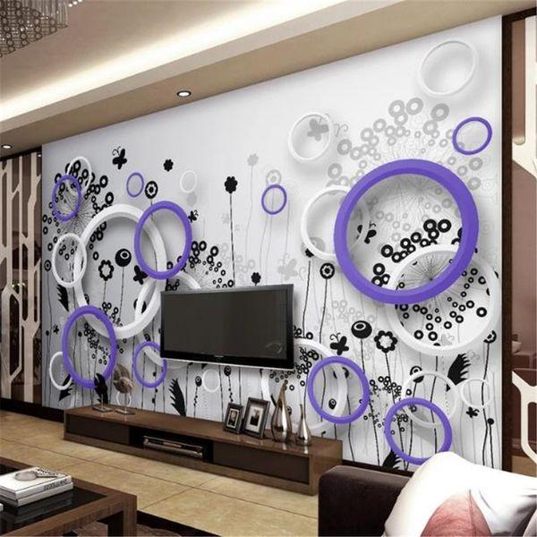 Custom Photo 3d Wallpaper Purple White Circle Abstract Flowers 3d Floor Interior Mural Wallpaper High Resolution Wallpaper Free High Resolution