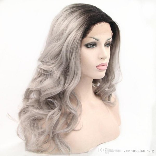 High Quality Cheap Long Body Wave Gray Ombre Synthetic Lace Front Wig Black Roots Silver Gray Heat Resistant Fiber Full Wigs for Women