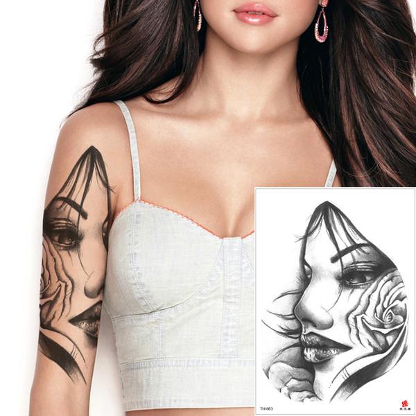 Beauty Woman 3D Tattoo Temporary Body Art Sticker Fake Black Sketch Lotus Flower Indian Faery Decal Waterproof Water Transfer Tattoo Designs