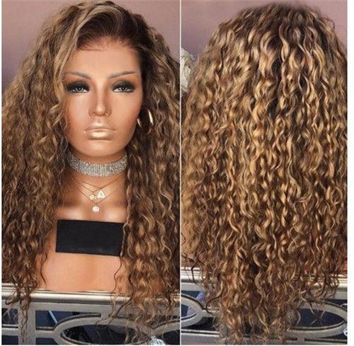 Femmes Brun Afro Long Kinky Cheveux Bouclés Ondulés Perruques Gradient Rose Partie De Perruque ILC