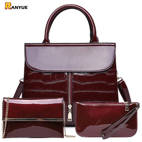 3pcs Luxury Patent Leather Handbags Women Bags Designer Brand Famous Tote+female Shoulder Crossbody Bags+clutch Purse Bag SetsMX190824
