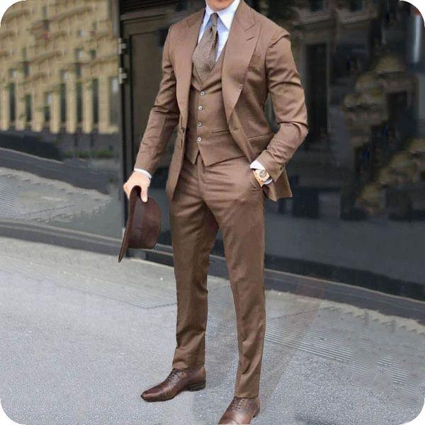 Peaked Lapel Formal Business Brown Suits Men Tuxedos Groom Wear Office Man Blazer 3Piece Coat Pant Vest Latest Designs Costume Homme