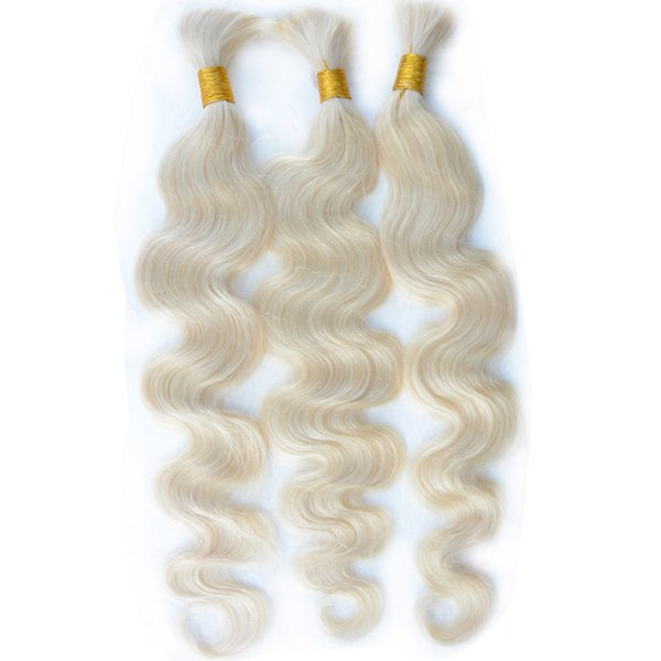 Virgin human hair bulk Brazilian Indian Malaysian Peruvian remy blonde braiding hair extensions bulks 3/4/5 bundles 613 blond body wave hair
