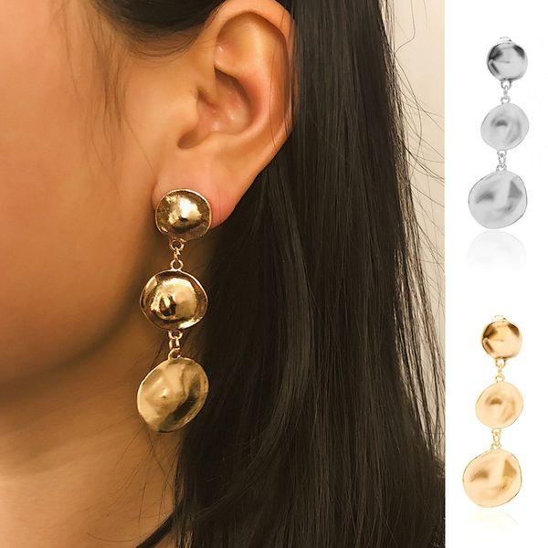 DIEZI Vintage Hot rotonda irregolare nappa orecchino per le donne ragazze regalo 2019 nuovo metallo oro argento orecchini gioielli orecchini all'ingrosso
