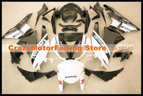 3 Free gifts New Motorcycle Fairing kit 100% Fit for KAWASAKI Ninja ZX6R 636 2009 2010 2011 2012 09 10 11 12 6R Bodywork set black white elf