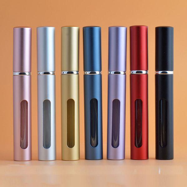 5 ml Mini Spray Botella de Perfume Viaje Recargable Envase Cosmético Vacío Botella de Perfume Atomizador Botellas Rellenables de Aluminio