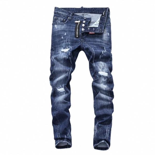 Nouveau 2019 Hommes déchiré Denim Tearing Jeans Marine noir coton mode Tight printemps automne pantalon pour hommes A7509 PHILIPP PLEIN DSQUARED2 DSQ2 D2 Versace