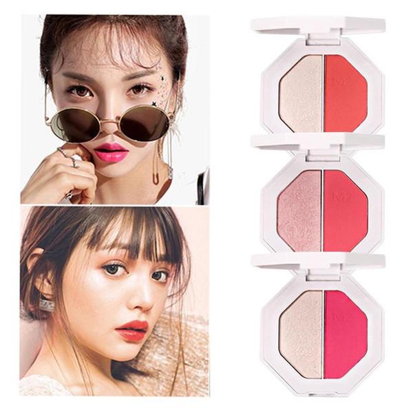New Professional Eye Cosmetics Professional Eyeshadow Makeup Palette 2 Colors Shimmer Eye Shadow Blush Women Face Powder Pink