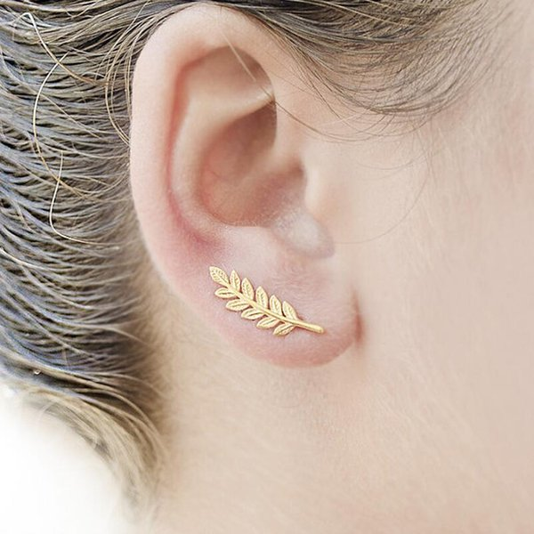 tud earrings SMJEL Bohemia Ethnic Tiny Gold Color Feather Stud Earrings for Women Simple Leaf Earring Piercing Wedding Jewelry Birthday G...