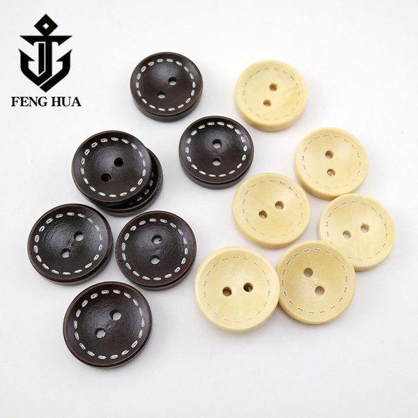 1000 adet doğal ahşap düğmeler 2 delik yuvarlak düğmeler ceket düğmeleri ahşap karalama defteri
