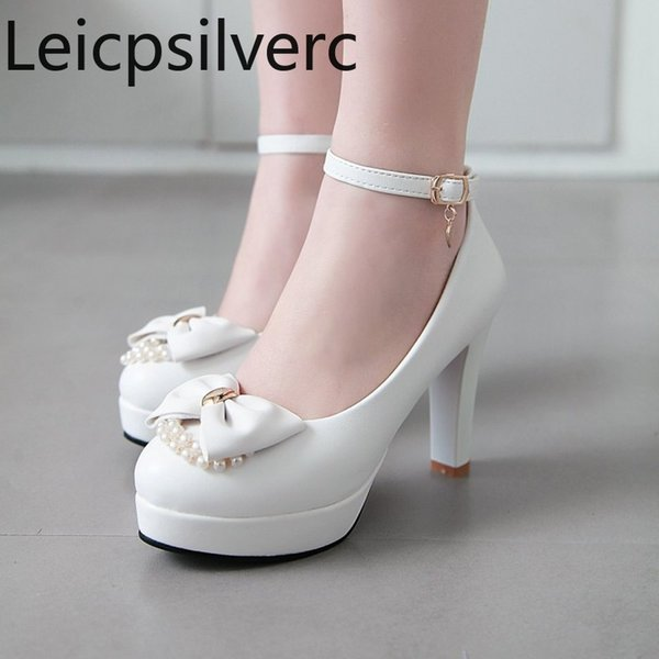 Pumps Spring and autumn New Round head Shallow mouth Buckle butterfly Knot String Bead High heel Women's shoes plus size 34-43