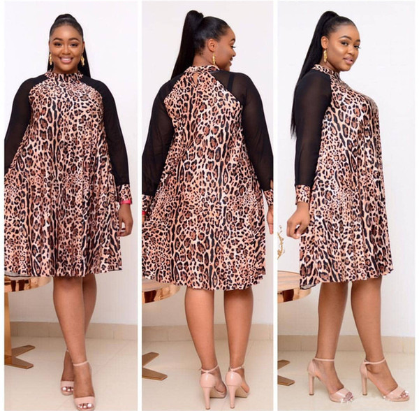 designer leopard plus size dress yarn raglan long sleeves summer dress fashion womens casual aline clothes
