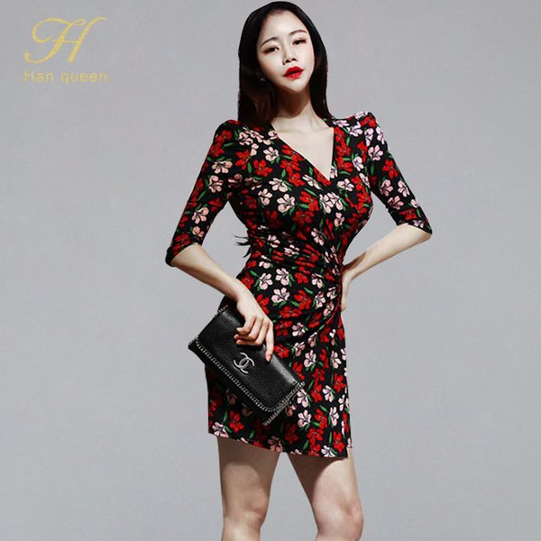 H Han Rainha Sexy Com Decote Em V Impressão Vestido Curto Mulheres Verão 2019 Ruched Drapeado Bainha Vestidos de Festa NightClub Lápis Bodycon Vestidos