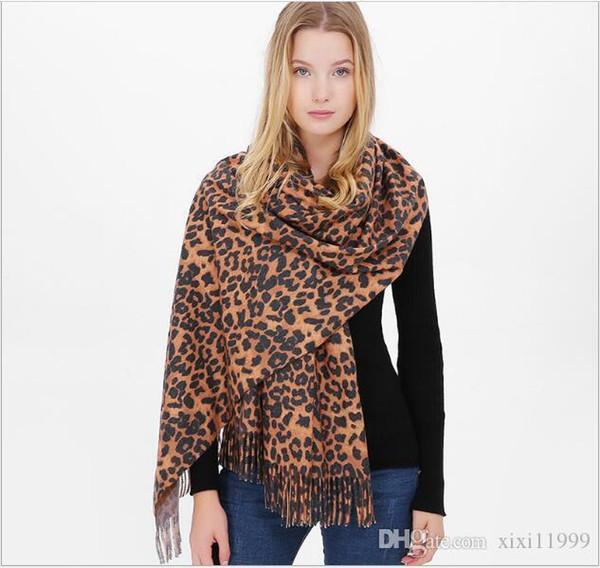 sonbahar ve kış leopar baskı etrafında Tasarımcı eşarp imitasyon kaşmir sıcak şal uzun saçaklı eşarp kaşmir