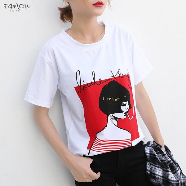 Мода мультфильм девушка печати T -футболки женщины корейской краткость лето Mouw Топов невынужденных Белые женщины Smoking T -Shirt S -Xxl