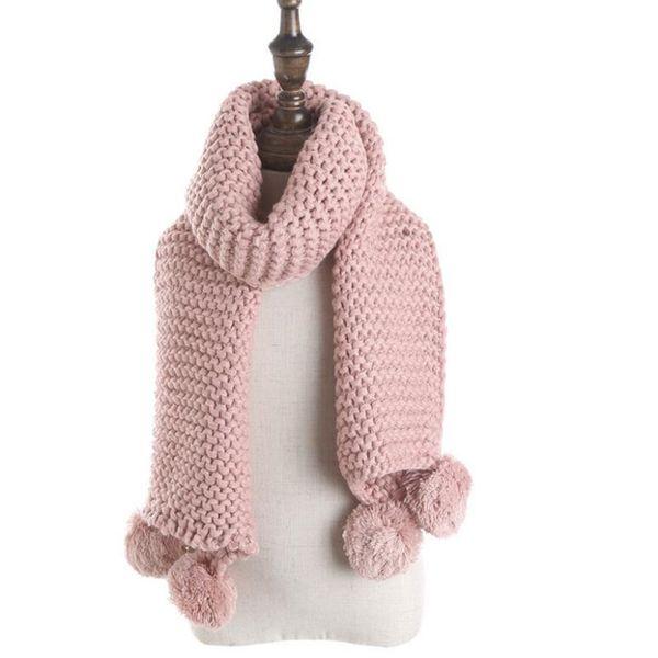 IANLAN Lovely Girls Solide Wolle Ringe Schal Kinder Ball Quasten Mufflers Students-Winter-warme Eindickung Halstücher IL00129