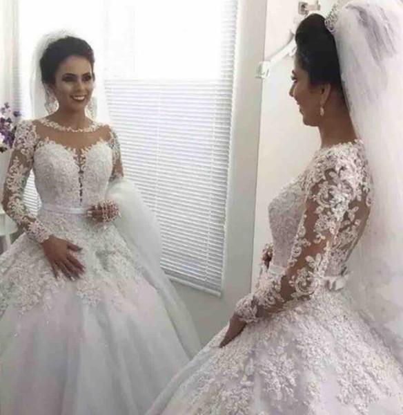 2019 Arabisch Muslim A Linie Brautkleider Türkisch Gelinlik mit Spitze Applique Islamische Brautkleider Hijab Langarm Brautkleider B32
