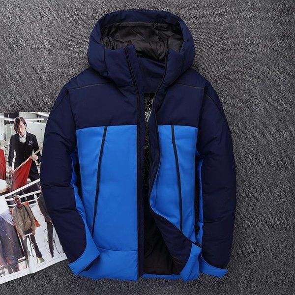 2019 Мужчины моды вниз куртки зимы вниз пальто Parka 80% белая утка сгущает warmCasual с капюшоном куртки пальто