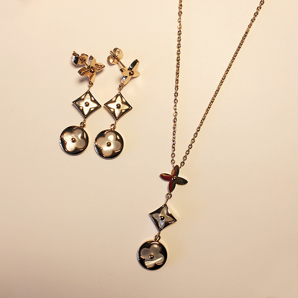 Women mother of pearl pendant necklace long tassel drop earrings design jewelry set high quality