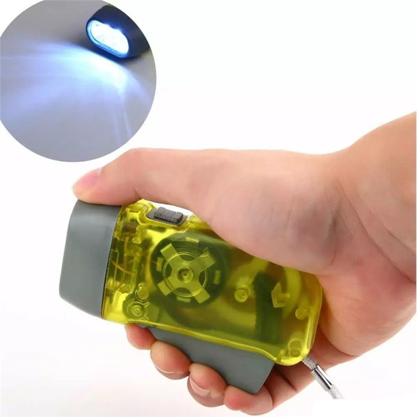 Free Shipping protable 3 LED Dynamo Wind Up Flashlight Torch Light Hand Press Crank NR Camping QF049PY