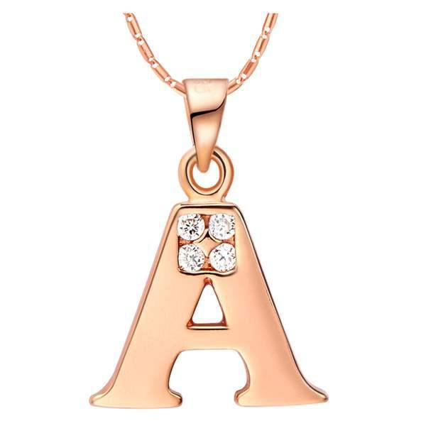Romantic Gold Silver Chain Choker Necklace Women Love Heart Crystal Pendant Charm Letter A Necklace Cute Wedding Party Jewelry Gift