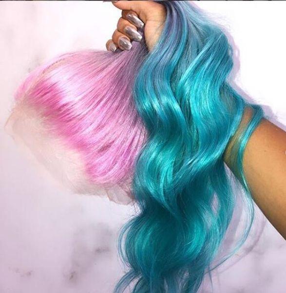 Largo gradiente 3 color rosa violeta azul Ombre pelo 100% cabello humano encaje peluca para fiesta