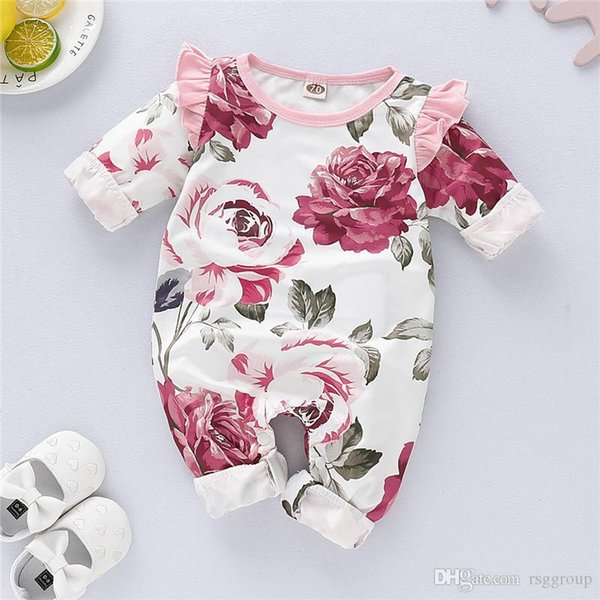 Spring INS Cute Toddler Baby Girls Floral Rompers Fall Ruffles Ruffles Long Sleeve Flower Printing Jumpsuits Cotton Bodysuits Onesies 0-2T
