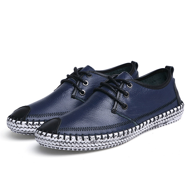Leather Shoes Men Hot Selling Men Sneakers Casual Footwear Fashion Exquisite Stitch Breathable Lace-up Male Shoes