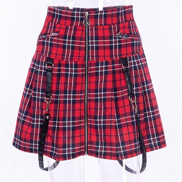 Kırmızı Ekose Harajuku Punk Rock Gotik Etek Kadın Yüksek Bel Kayışı Kızlar Için Fermuar Dikiş Yaz Pileli Mini Etek S19713