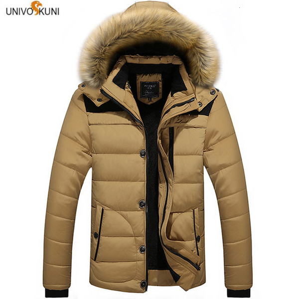 M-6XL col de fourrure à capuchon hommes veste d'hiver 2019 nouvelle mode chaud doublure de laine homme veste et manteau coupe-vent mâle Parkas casaco H539 T190908