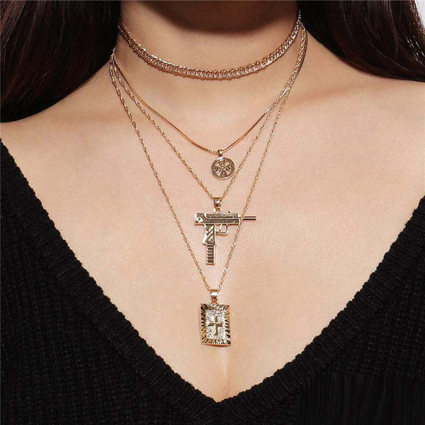 New Punk Multi Layers Flower Cross Gun Choker Necklace Women Gold Silver Color Metal Chain Boho Jewelry Party Summer Gifts