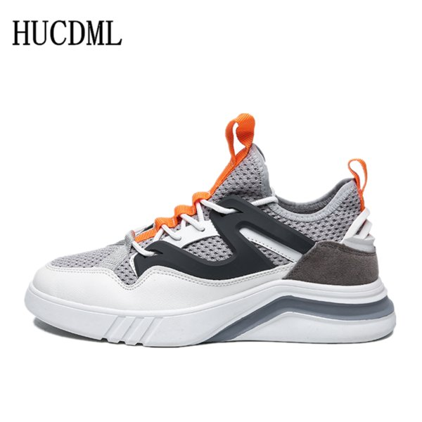hucdml 2019 spring&summer men sneaker mesh men shoes breathable comfortable lace-up men's outdoor casual standard size:39-44, Black