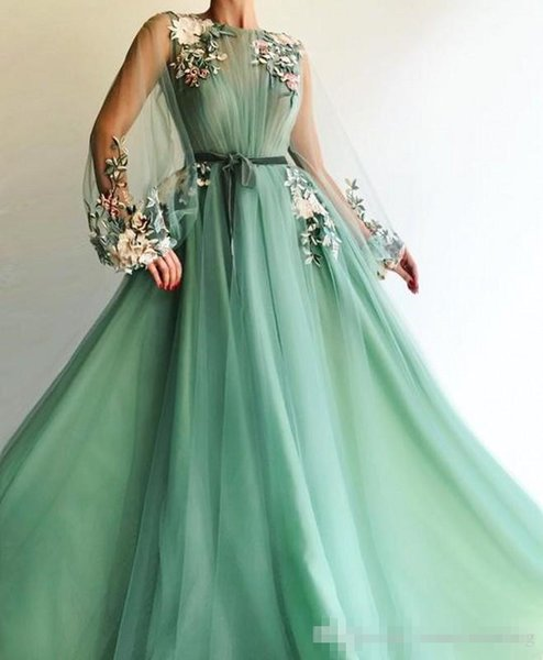 2019 Modest Illusion Long Sleeve Tulle A-Line Mint Green Prom Dresses 2019 Applique Flowers Formal Evening Dress Floor Length Prom Gown