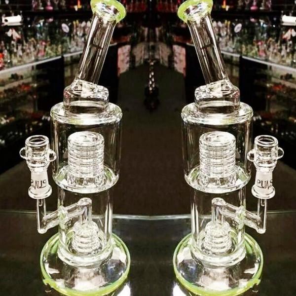 28 см зеленое стекло бонги шины Birdcage перколятор курение водопроводные трубы дешевые ресайклер Dab буровые установки кальяны готовы к отправке Бесплатная доставка