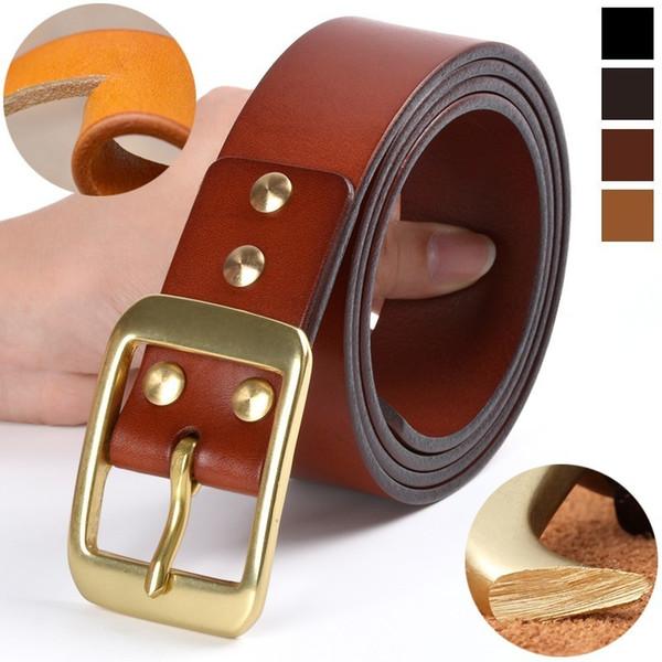 Ceinture en cuir véritable pour les hommes de haute qualité couche supérieure de ceinture de peau de vache luxe ceinture Designer Black Men Copper Needle Buckle