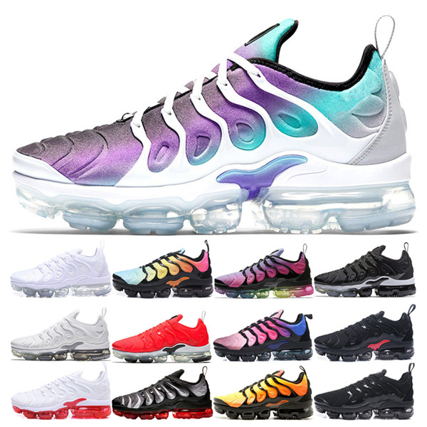 Compre Nike Vapormax Air Max Airmax TN Plus Hombres Mujeres Grape TN Plus Zapatos Para Correr Triple Blanco Cool Grey SUNSET Juego Royal White Rojo