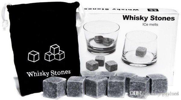 Kitchen Gadgets stone cube Shape Stainless Steel Whiskey Ice Cubes Cooler Stone Wine Beer Cooling Tray Mold Ice Mould 10set