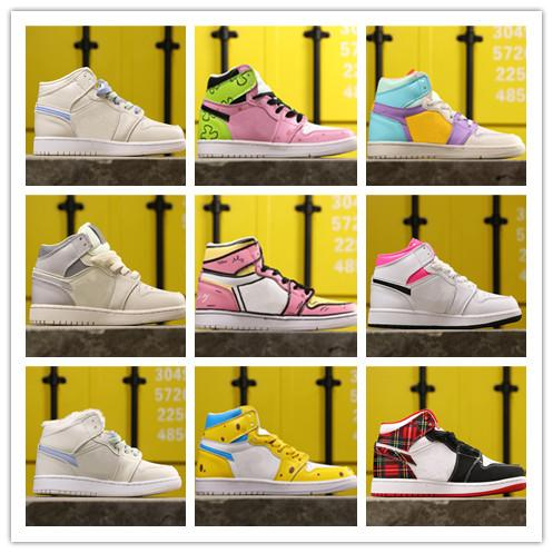 Wholesale 2019 New Cartoon pink yellow white I 1s men women high basketball shoes outdoor trainers high quality free shipping size 5.5-8.5
