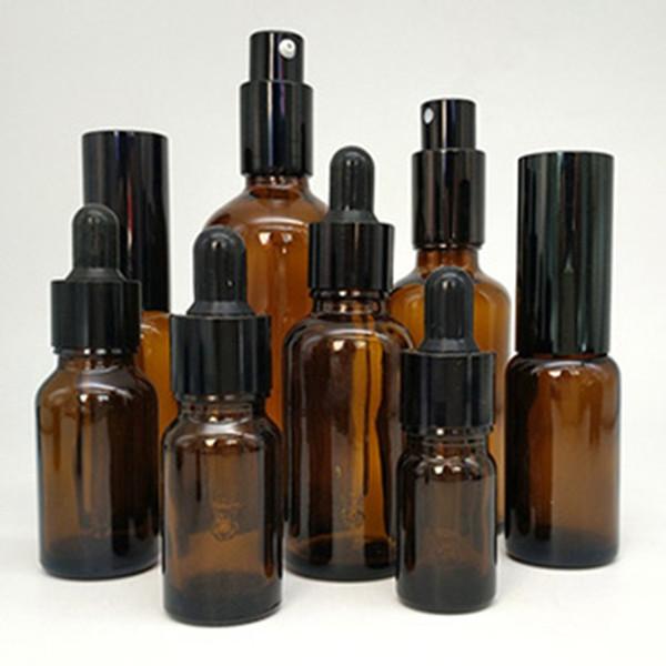 1 oz 30 ml 5-100 ml de verre ambré compte-gouttes de bouteille de vaporisateur liquide en bouteille flacon pompe pour huile essentielle parfum, nettoyant pour le visage, shampooing, gel douche