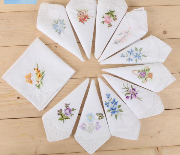 wholesale hot sale White Handkerchiefs cotton embroidery handkercheif for women decoration partty dress small square towel cotton